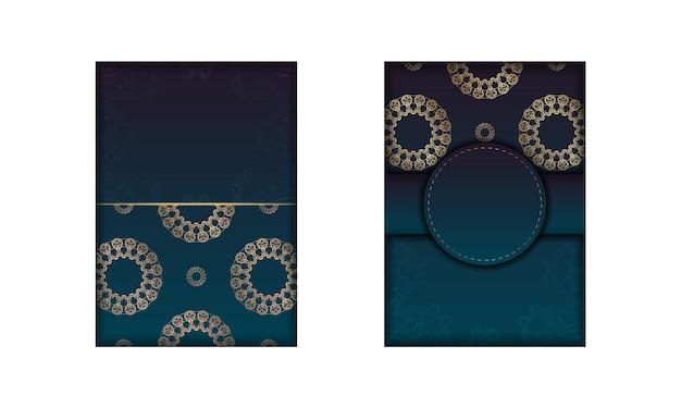 Modèle flyer de félicitations avec dégradé de couleur bleu avec ornement mandala en or préparé pour la typographie.
