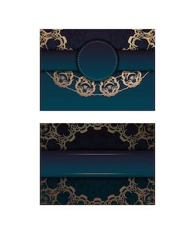 Modèle flyer de félicitations avec un dégradé de couleur bleue avec un ornement mandala en or pour votre conception.