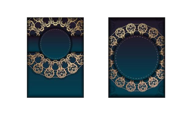 Modèle flyer de félicitations avec un dégradé de couleur bleue avec un ornement mandala en or pour votre marque.