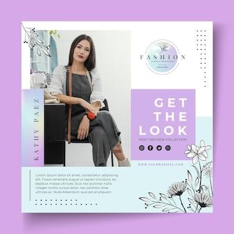 Modèle de flyer de femme d'affaires avec des éléments élégants