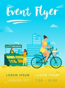 Modèle de flyer femme cyclisme et achat de légumes frais