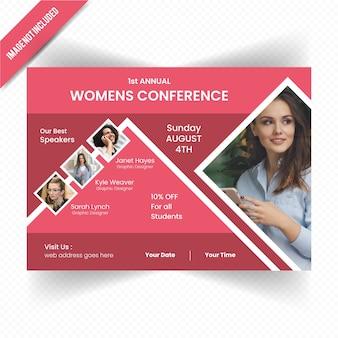 Modèle de flyer de femmes conférence horizontale