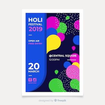 Modèle de flyer festival holi plat