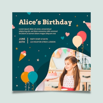 Modèle de flyer de fête d'anniversaire au carré
