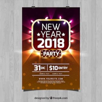 Modèle de flyer fête brillante nouvel an