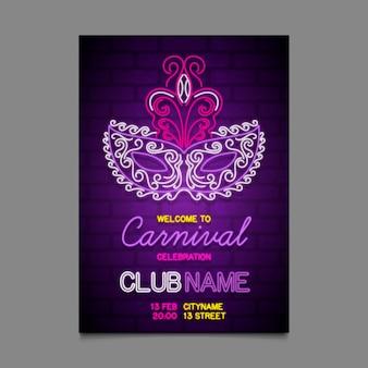 Modèle de flyer de fête de carnaval au néon