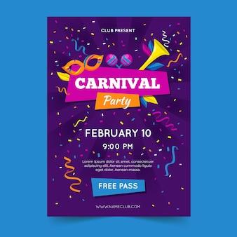 Modèle de flyer de fête de carnaval