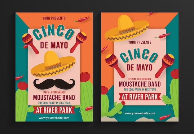 Modèle de flyer fête cinco de mayo