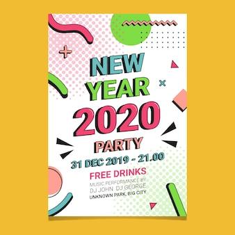 Modèle de flyer de fête du nouvel an 2020 au design plat