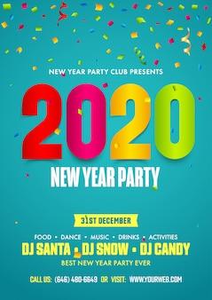 Modèle de flyer de fête du nouvel an 2020 avec des confettis