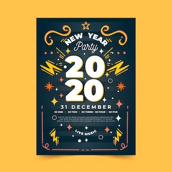 Modèle de flyer de fête du nouvel an 2020 dessiné à la main