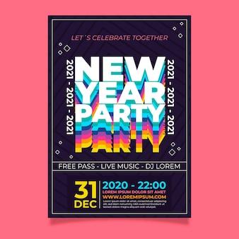 Modèle de flyer de fête du nouvel an 2021 au design plat
