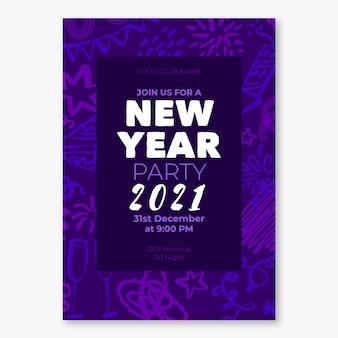 Modèle de flyer de fête du nouvel an 2021 dessiné à la main