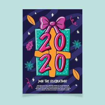 Modèle de flyer de fête du nouvel an dessiné à la main