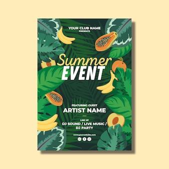Modèle de flyer de fête d'été avec des feuilles et des fruits