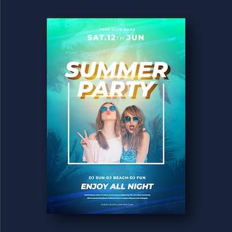 Modèle de flyer de fête d'été avec photo