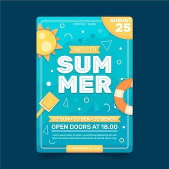 Modèle de flyer de fête d'été plat vertical