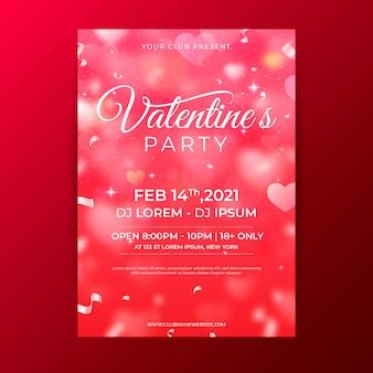 Modèle de flyer de fête floue de la saint-valentin