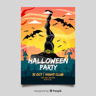 Modèle de flyer fête halloween dessiné à la main