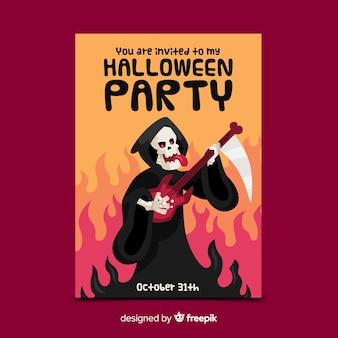 Modèle de flyer fête halloween grim reaper