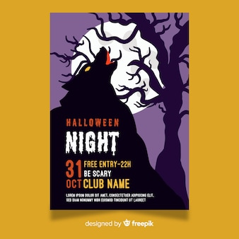 Modèle de flyer fête halloween nuit