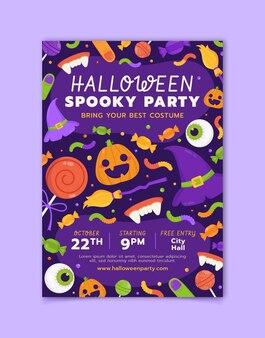 Modèle de flyer de fête d'halloween plat vertical dessiné à la main