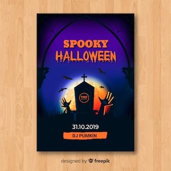 Modèle de flyer fête halloween spooky tombstone