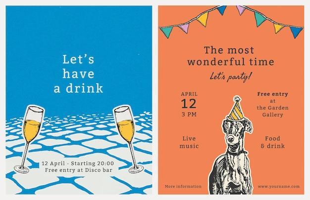 Modèle de flyer de fête modifiable avec ensemble de citations, remixé à partir d'œuvres d'art de moriz jung