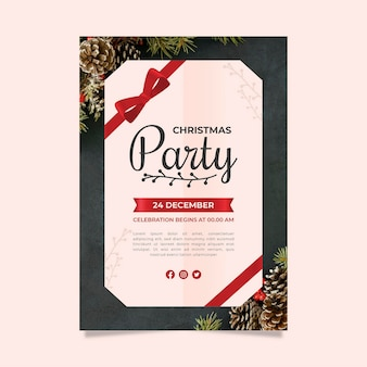 Modèle de flyer de fête de noël avec photo