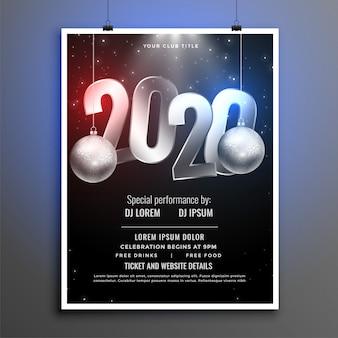 Modèle de flyer fête noir et argent 2020 nouvel an
