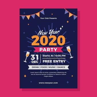 Modèle de flyer fête nouvel an 2020 au design plat