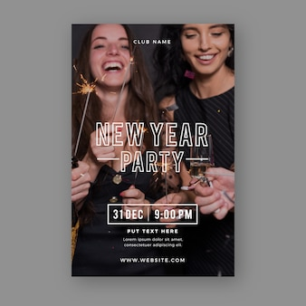 Modèle de flyer fête nouvel an 2020 avec photo