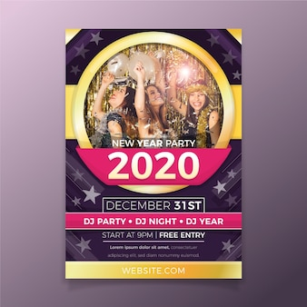 Modèle de flyer de fête de nouvel an avec photo