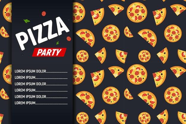 Modèle de flyer de fête de pizza.
