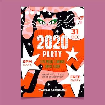 Modèle de flyer de fête plat nouvel an 2021