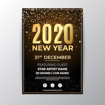 Modèle de flyer de fête plat nouvel an