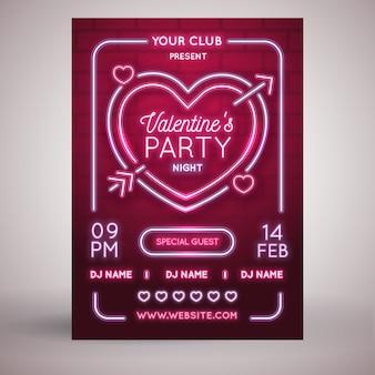 Modèle de flyer de fête plate de la saint valentin