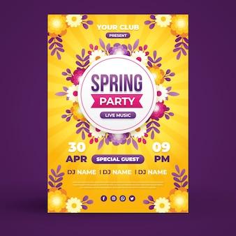 Modèle de flyer de fête de printemps au design plat