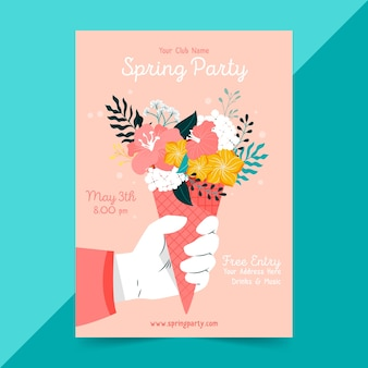 Modèle de flyer de fête de printemps dessiné à la main