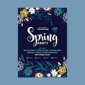 Modèle de flyer de fête de printemps de fleurs abstraites