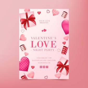 Modèle de flyer de fête réaliste de la saint-valentin
