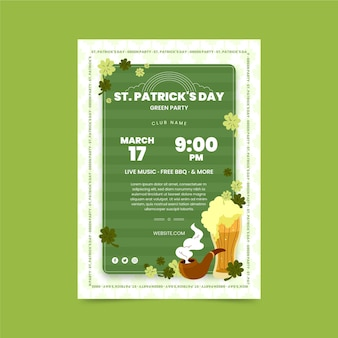 Modèle de flyer de fête de la saint-patrick