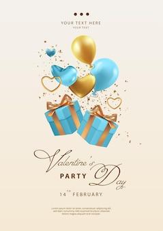Modèle de flyer de fête de la saint-valentin avec des cadeaux, des coeurs et des ballons qui tombent