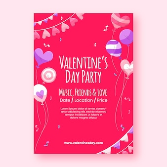 Modèle de flyer de fête de la saint-valentin design plat