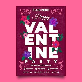 Modèle de flyer de fête de la saint-valentin dessiné