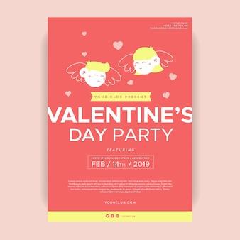 Modèle de flyer de fête de la saint valentin plat