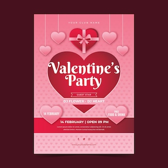 Modèle de flyer de fête de la saint-valentin en style papier