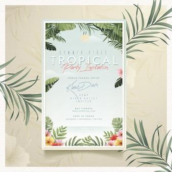 Modèle de flyer de fête tropicale