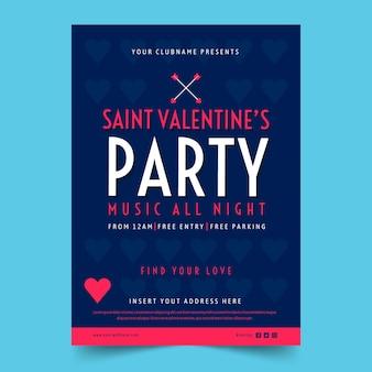 Modèle de flyer fête valentin au design plat