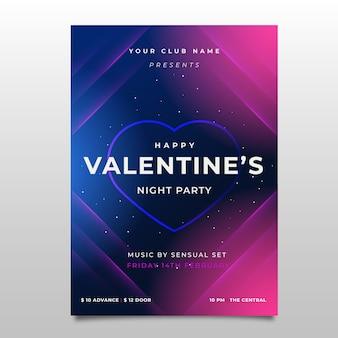 Modèle de flyer fête valentine dessiné à la main
